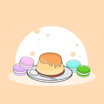 Illustrazione di icona carino budino e macarons. concetto dell'icona di cibo dolce o dessert. stile cartone animato