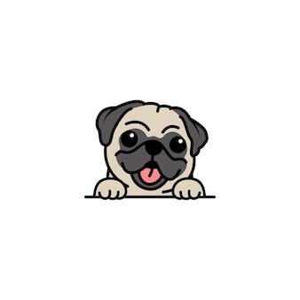 Simpatico cane carlino cartone animato vettore