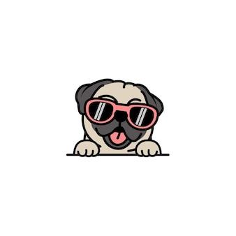 Carlino carino cane con occhiali da sole cartone animato, illustrazione vettoriale
