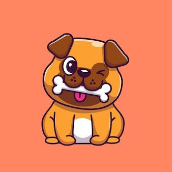 Illustrazione sveglia dell'icona dell'osso di cibo del carlino. personaggio dei cartoni animati della mascotte del carlino. icona animale concetto isolato