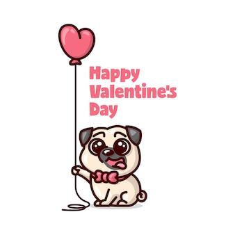 Cucciolo sveglio del pug che sorride e tiene un aerostato del cuore. illustrazione di san valentino