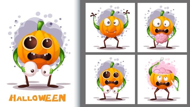 Simpatico set di illustrazioni di zucche e carattere di poster.
