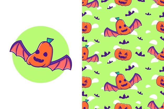Simpatico pipistrello zucca felice halloween con motivo senza cuciture
