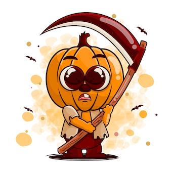 Simpatico personaggio dei cartoni animati di zucca in costume da zombie con illustrazione di falce