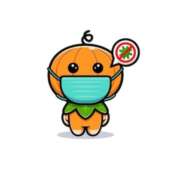 Simpatico personaggio di zucca che indossa una maschera per prevenire virus