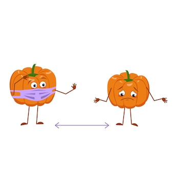 Simpatici personaggi di zucca con viso e maschera mantengono le distanze, braccia e gambe. l'eroe divertente o triste, verdura autunnale arancione. decorazioni di halloween piatto di vettore.