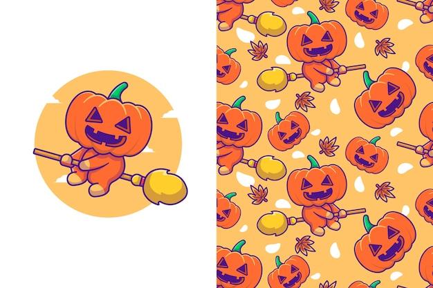 Zucca sveglia che vola con la scopa della strega felice halloween con motivo senza cuciture