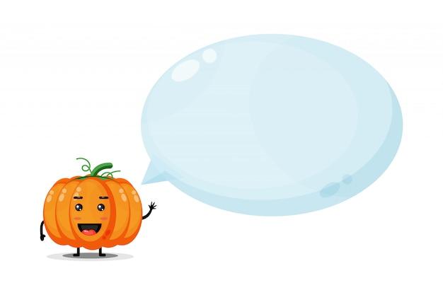 Mascotte di zucca carina con discorso bolla