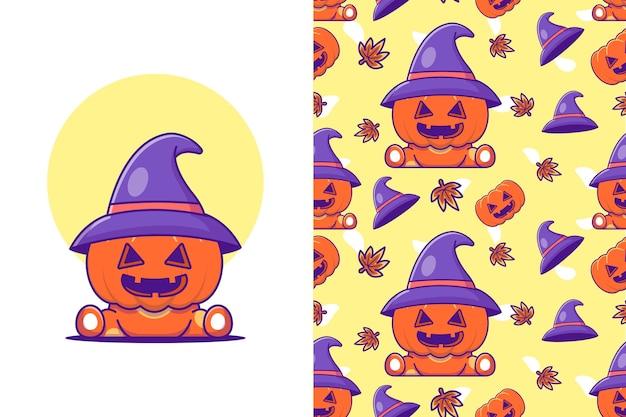 Zucca carina con cappello da strega felice halloween con motivo senza cuciture