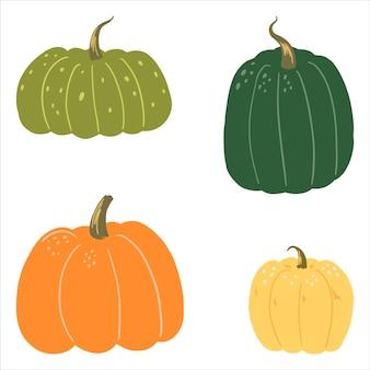Illustrazione vettoriale disegnata a mano piatta di zucche carine. collezione colorata in stile scandinavo. elementi di raccolta di verdure autunnali.