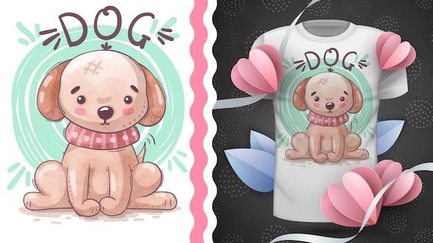 Simpatica idea di cucciolo di cane per maglietta stampata