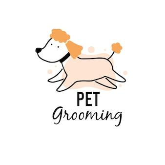 Toelettatura dell'animale domestico del cane cucciolo sveglio. illustrazione del personaggio del cane dei cartoni animati per il logo del salone di toelettatura dei peli di animali, design della bandiera. concetto di cura degli animali domestici.