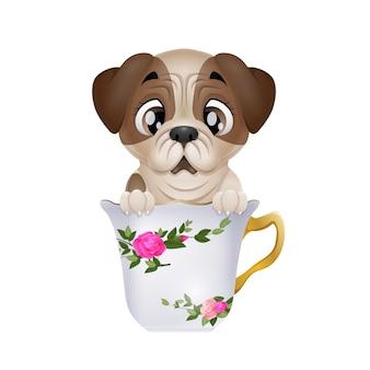 Fumetto sveglio del pug del cucciolo che si siede nella tazza