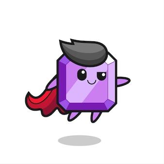 Il simpatico personaggio di supereroe con gemme viola sta volando, design in stile carino per maglietta, adesivo, elemento logo