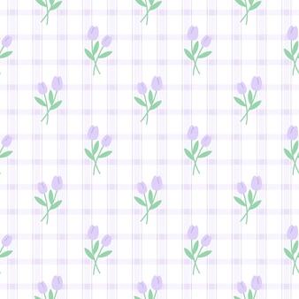 Modello di ripetizione senza cuciture del fiore del tulipano viola sveglio, fondo della carta da parati, fondo senza cuciture sveglio