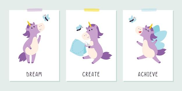 Simpatico unicorno viola con farfalla in stile infantile.