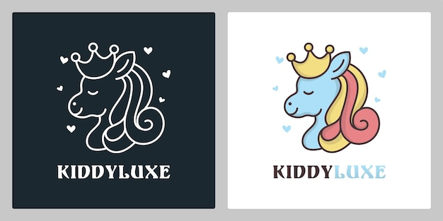 Cute queen pony unicorn cartoon character logo design