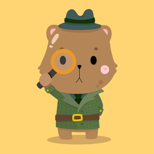 Cute quokka detective cartoon illustrazioni di animali