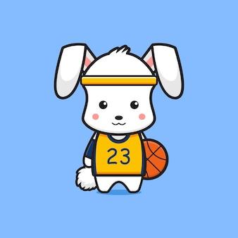 Simpatico coniglio giocatore di basket icona del fumetto. design piatto isolato in stile cartone animato