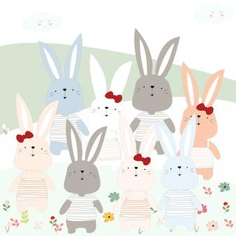 Coniglietto di coniglio carino in giardino