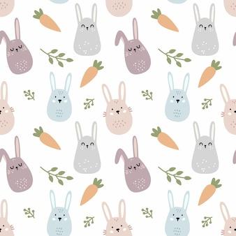 Simpatico coniglio e carota in stile indoodle. modello senza cuciture per cucire abbigliamento per bambini e stampare su tessuto.