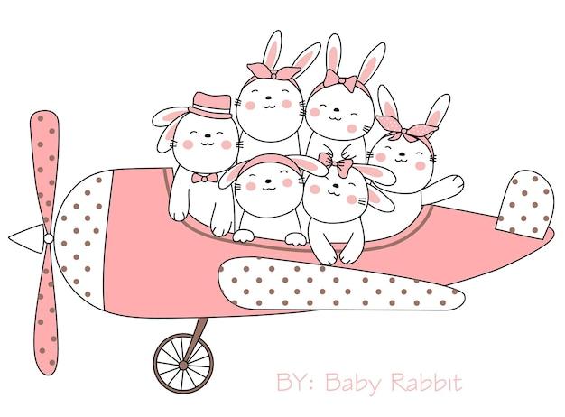 Simpatico coniglio cartone animato schizzo animale