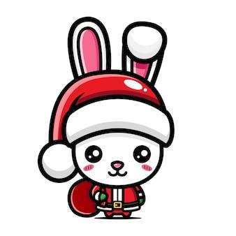 Simpatico coniglio che festeggia il natale