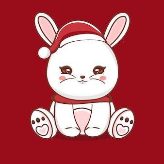 Illustrazione del personaggio di coniglio carino con auguri di buon natale vettore premium