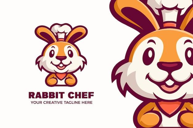 Modello di logo del personaggio mascotte chef coniglio carino chef