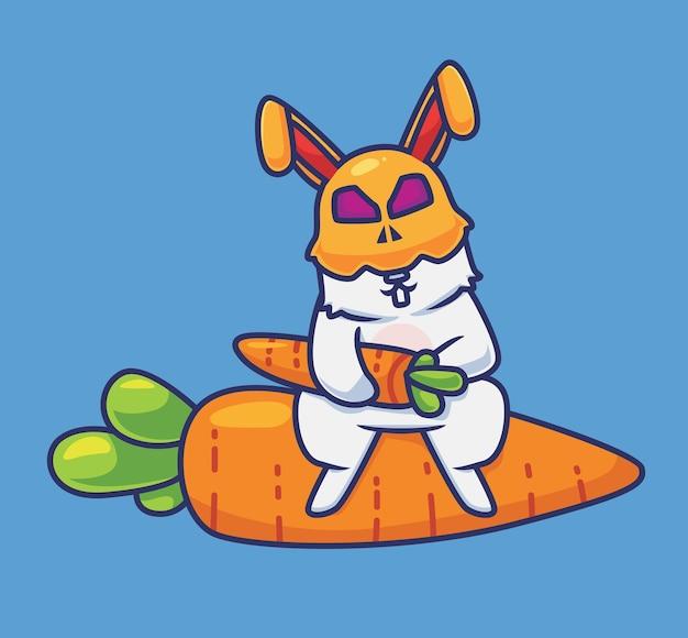 Simpatico costume da coniglio che tiene una carota. illustrazione animale di halloween del fumetto isolato. stile piatto adatto per sticker icon design premium logo vettoriale. personaggio mascotte