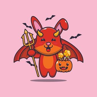 Simpatico coniglio diavolo che trasporta zucca halloween carino halloween fumetto illustrazione