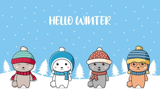 Simpatico coniglio famiglia saluto ciao inverno cartone animato scarabocchio carta sfondo illustrazione