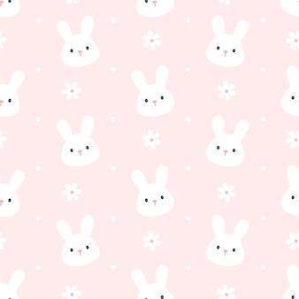 Modello di ripetizione di sfondo senza soluzione di continuità di coniglio e fiore carino, sfondo per il desktop, sfondo carino modello senza soluzione di continuità