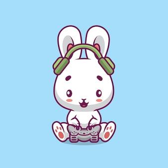 Illustrazione del fumetto di gioco del coniglio sveglio