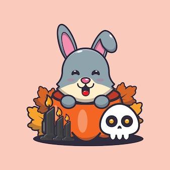 Simpatico coniglio nella zucca di halloween simpatica illustrazione di cartone animato di halloween