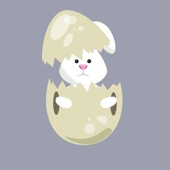 Progettazione felice dell'illustrazione di vettore di pasqua del coniglio sveglio