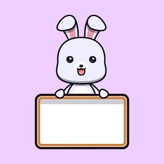 Simpatico coniglio che tiene il personaggio mascotte animale della scheda di testo in bianco