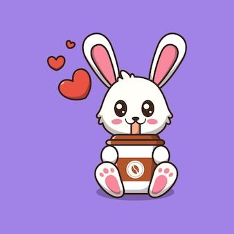 Coniglio sveglio che tiene un'illustrazione del fumetto della tazza di caffè