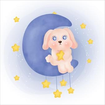 Coniglio sveglio che tiene una stella iillustration