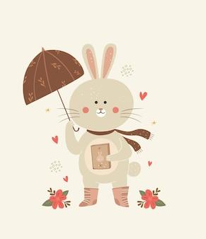 Illustrazione di coniglio carino con l'ombrello