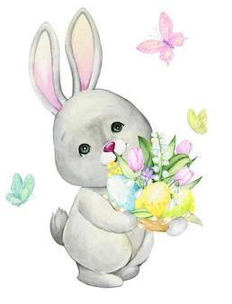 Un simpatico coniglio tiene in mano un uovo di pasqua. un concetto di acquerello su uno sfondo isolato in stile cartone animato.