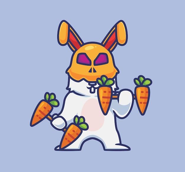 Simpatico coniglio che solleva il peso della carota con manubri. illustrazione animale di halloween del fumetto isolato. stile piatto adatto per sticker icon design premium logo vettoriale. personaggio mascotte