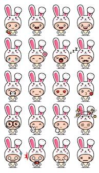 Set design mascotte coniglio carino
