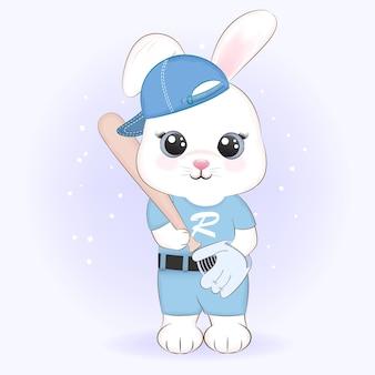 Illustrazione animale del fumetto di baseball del giocatore di coniglio sveglio