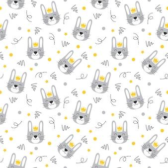 Simpatico coniglio grazioso coniglietto grigio con motivo a punti e linee artistiche