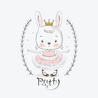 Simpatica principessa coniglio con coronaillustrazione vettoriale disegnata a mano del fumetto può essere utilizzata per la maglietta del bambino