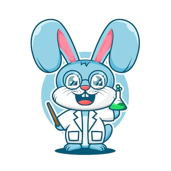 Modello di logo della mascotte del fumetto del professore di coniglio carino