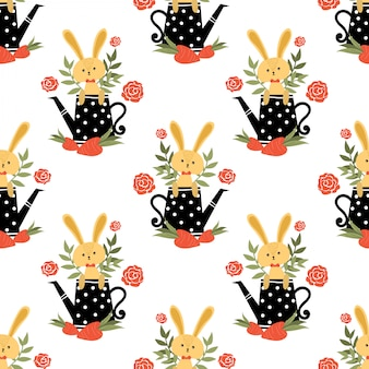 Seamless pattern di coniglio carino.