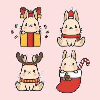 Vettore disegnato a mano del fumetto di natale stabilito del costume del coniglio sveglio