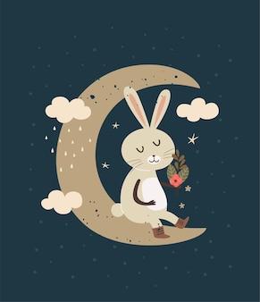 Simpatico coniglio seduto su una falce di luna